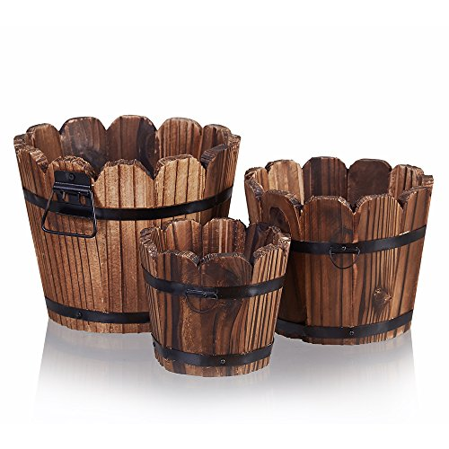 (Wooden Barrel Planter, Rustic Flower Plant Pots Planters Boxes Indoor Outdoor Kitchen Home Garden Patio Décor for Succulent Cactus Herb Orchid or Small Plants, Set of 3)