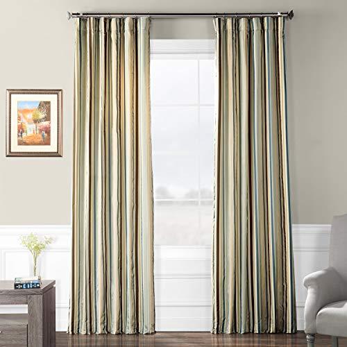 - Pts-SLK005-96 Luxury Faux Silk Stripe Curtain, 50 x 96