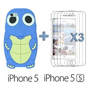 OnlineBestDigital - Turtle Style 3D Silicone Case for Apple iPhone 5S / Apple iPhone 5 - Blue with 3 Screen Protectors