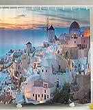Island Decor Honeymoon Vacation Destination of Santorini Evening Panoramic Scenic Pictures for Lovely Lover Couple Greece Art Shower Curtain Bathroom Accessories Greek Aegean Sea Blue White Orange