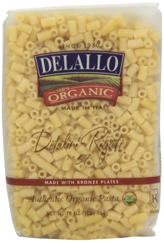 DeLallo Organic Ditalini Rigati #57, 16-Ounce Units (Pack of 16) ()