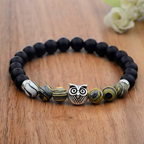 Mikash 8MM Mens Owl Spot Natural Lava Stone Gold Silver Owl Beaded Unisex Bracelets | Model BRCLT - 39487 |