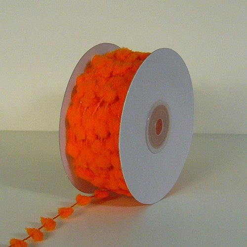 Pom Pom Wired Ribbon - 25 Yards Fuzzy Pom Pom Wired Trim Ribbon Lace - Orange