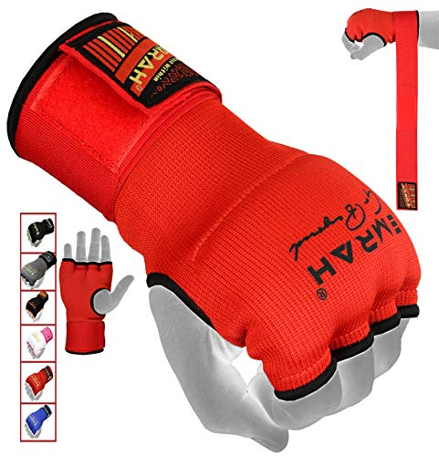EMRAH PRO Training Boxing Inner Gloves Hand Wraps MMA Fist Protector Bandages Mitts - X (Red, X-Large)
