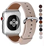 JSGJMY Apple Watch Band 42mm Men Women Light tan Vintage Genuine Leather Loop Replacement Wrist Iwatch Strap with Stainless Steel Metal Clasp for Apple Watch Series 3 2 1 Sport Edition