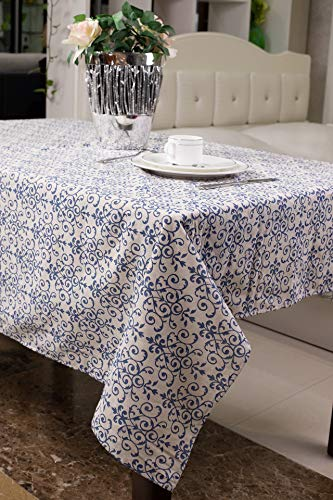 ECRISDOO Round/Square/Rectangle/Oblong/Oval Tablecloth Cotton Linen Plaid Floral Elephant Owl Tablecloth Table Cover Kitchen Dinning Tabletop Decoration