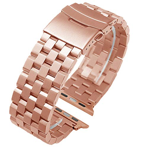 Fashion Rose Gold Stainless Steel Watch Band Compatible for Apple 42mm/44mm Silver Matte Metal Watch Strap Replacement Wristband for iWatch Series 4, Series 3, Series 2, Series 1 Safety Double Lock