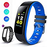 BISOZER Fitness Tracker Color Screen, IP67 Waterproof Smart Watch Activity Tracker Heart Rate Monitor Sleep Tracker Pedometer Calorie Counter Sports Watch Bracelet Wristband for Men Women Kids (Blue)