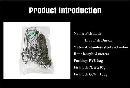 Edelstahl Live Fisch Lock 5 Metall Druckknöpfen für Locken Angelrute