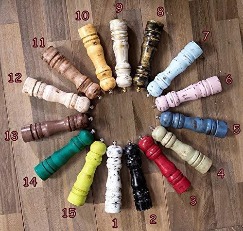 (Salt and pepper grinder set, 2 custom wooden GRINDERS, choose colors, pepper mills pair)