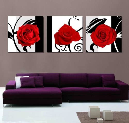 AMERICAN BEAUTY RED ROSES CANVAS PRINT PICTURE WALL ART HOME DECOR FREE DELIVERY