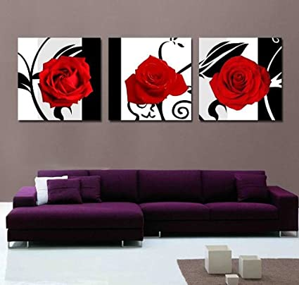 Amazon.com: YancyMarketInc -Art-Canvas Print,3 Panels Black ,White ...