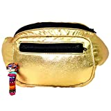 Metallic Chrome Fanny Pack, Boho Chic Handmade w/Hidden Pocket (Gold Dust)