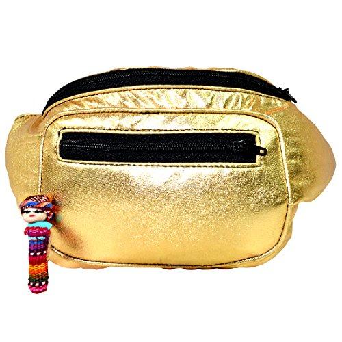 Metallic Chrome Fanny Pack, Boho Chic Handmade w/Hidden Pocket (Gold Dust) by Santa Playa