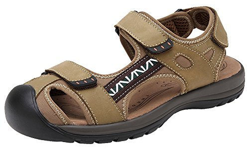 Hw-goods Uomo Nuovo Arrivo In Pelle 2 Cinturini Sandali Da Pescatore Color Kaki