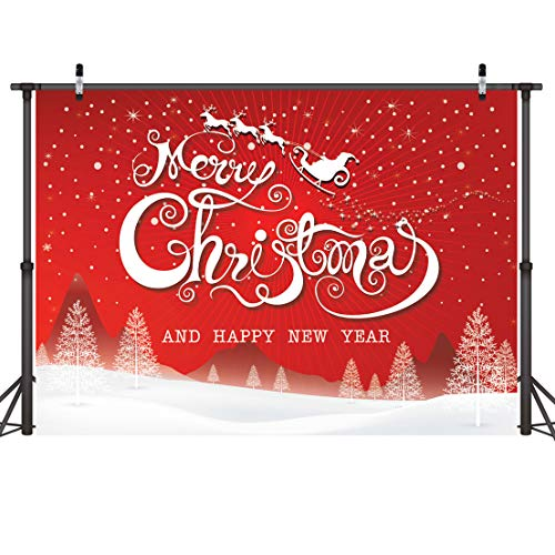 LYWYGG 7x5ft Merry Christmas Backdrops for Photography Snowflake Microfiber Photo Background Red Photo Happy New Year Booth Backdrop CP-86