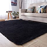 PAGISOFE Soft Kids Rug Nursery Decor Bedroom Living Room Carpet 4' x 5.3',Black