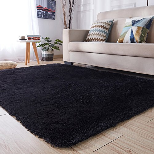 Black Furry Rug Amazon Com