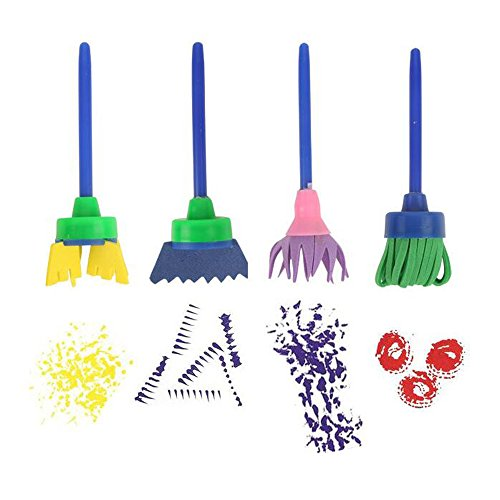 Crystallove 4pcs DIY Mophead Sponge Paint Brush Set for Early Learning Kids (Style 1)