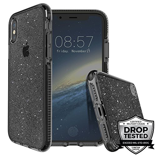 (Prodigee [SuperStar] Smoke For iPhone X (2017) & Xs (2018) Sparkle Black Gray Glitter Shine Flakes Case Clear Transparent Military Drop Test Slim Protective Cover)