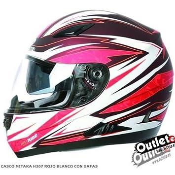 Amazon.es: CASCO MITAKA CON GAFAS H207 BLANCO/ROJO CON GAFAS ...