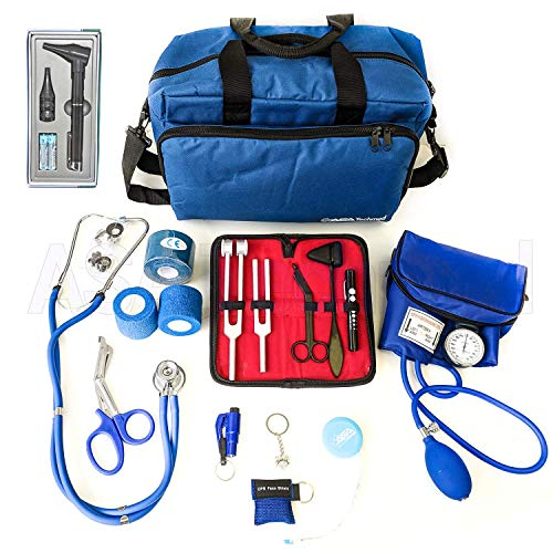 ASATechmed Nurse Starter Kit - Stethoscope, Blood Pressure Monitor, Tuning Forks, and More - 18 Pieces Total (Blue)
