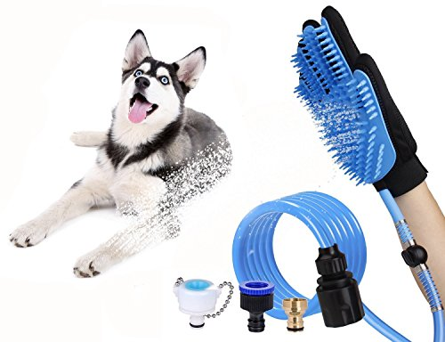MSDUSA Pet Bathing Tool, Pet Shower Sprayer and Hair Removal Mitts Gloves to Bathing, Grooming, Warm Touch for Dogs/Cats/ Rabbits or Other Pets with a 8.2 Foot Hose and Bath Accessories Set by MSDUSA