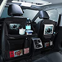 Car Backseat Organizer with Touch Screen Tablet Holder, 8 Storage Pockets Back Seat Storage Bag with Foldable Dining…