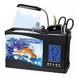 KAYI Mini Fish Tank with Usb Water Pump LCD Screen Clock Aquarium Bowl Desktop Ornaments