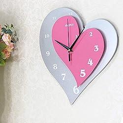 YISHU001 Modern Minimalist Creative lamp/Mute Wall Clock Personality Fashion Creative Pocket Watch Living Room Heart-Shaped Table Bedroom Clock Wedding Clock