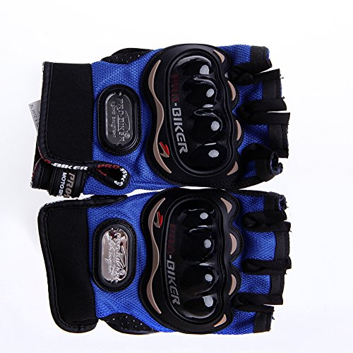 Kocome Motocross Racing Pro-Biker Cycling Motorcycle Protective Half Finger Gloves (Blue, L)