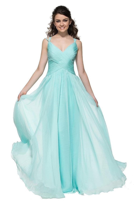 CLOCOLOR Women's Long V-neck Pleated Chiffon Criss-Cross Prom Dress Bridesmaids Dress 2016