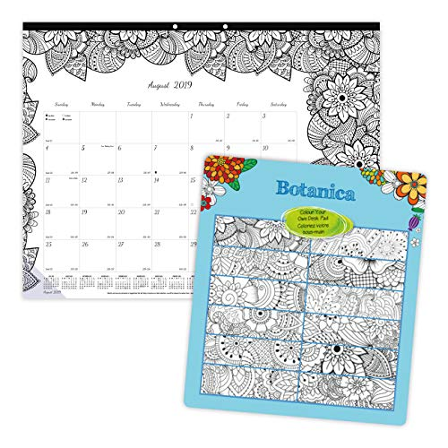 Blueline 2019-2020 Doodle Plan Academic Coloring Desk Pad, Botanica Designs, August 2019 to July 2020, 22 x 17 inches (CA2917311-20)