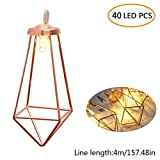 KOBWA String Light, Rose Gold Geometric Metal LED String Lights for Bistro Pergola Tents Market Cafe Gazebo Porch Letters Party Decor Battery Powered 40 Decorative Lights (13ft/1.8m Warm White)