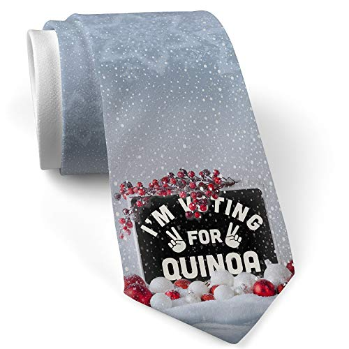 Christmas NeckTie I'm Voting For Quinoa Funny Saying White with Snow