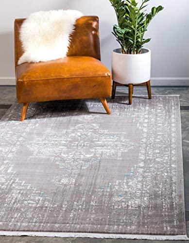 Unique Loom New Classical Collection Traditional Distressed Vintage Classic Light Gray Area Rug 8 0 x 10 0