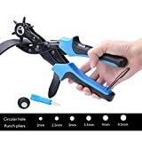 Xubox Leather Belt Hole Punch, Perfect Round Holes Easily, Professional Craft Tool Kit of 1 Screwdriver, 2 Plates and 1 Multi Sizes Belt Hole Maker, Rotary, Heavy Duty Puncher for Belts & Much More