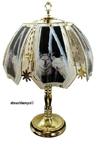 with Polished Brass Base (Wolves Touch Lamp)