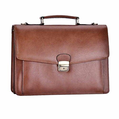 RUNWINDY Mens Leather Briefcase Cowhide Handbags with Lock (Lock Leather Briefcase)