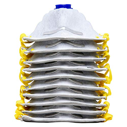 AMSTON 10pk P95 Dust Masks - NIOSH-Certified - Personal Protective Equipment Particulate Respirators for Construction, Home Improvement, DIY Projects (Model 1804-10 Pack w/Valve & Charcoal ()
