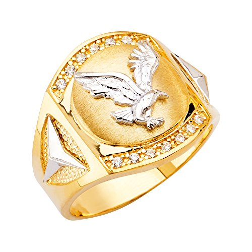 - Jewels By Lux 14K White and Yellow Gold Two Tone Eagle Mens Cubic Zirconia CZ Ring Size 10