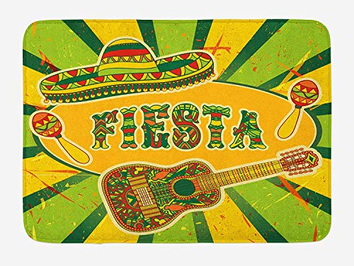 (TAQATS Fiesta Bath Mat, Colorful Latino Elements Sombrero Maracas Guitar Geometric Background, Plush Bathroom Decor Mat with Non Slip Backing, 23.6 W X 15.7 W Inches, Green Mustard)