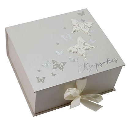 Juliana Wings Of Love Wedding Keepsake Box With Silver Butterflies