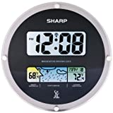 sharp atomic - Sharp Suspended Glass Wall Clock Sets Time Automatically - Black