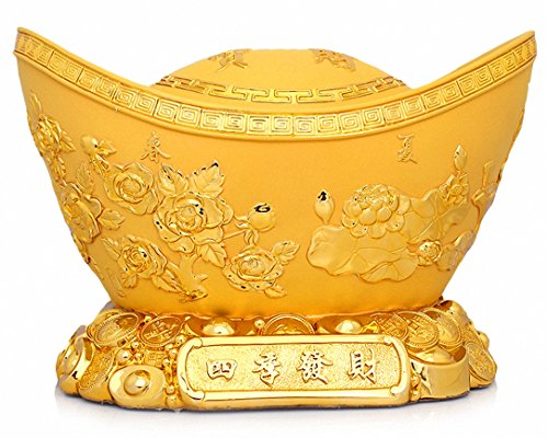 (Large Size Feng Shui Golden Ingot/Yuan Bao for Wealth Luck,Chinese Charm of Prosperity Home Decoration Gift Attract Wealth and Good Luck,Feng Shui)