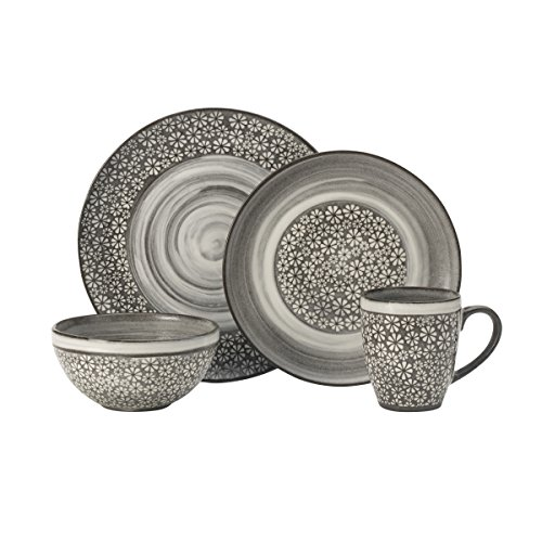 Pfaltzgraff 5237564 Blossom Brown 16-Piece Porcelain Dinnerware Set, Service for 4, Distressed