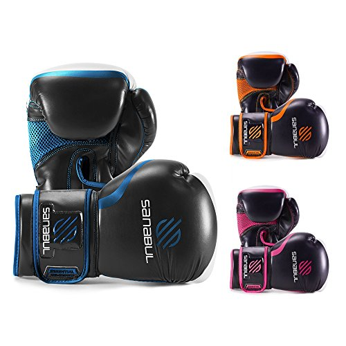 12 Ounce Boxing Gloves - Sanabul Essential GEL Boxing Kickboxing Training Gloves (Black/Metallic Blue, 12 oz)