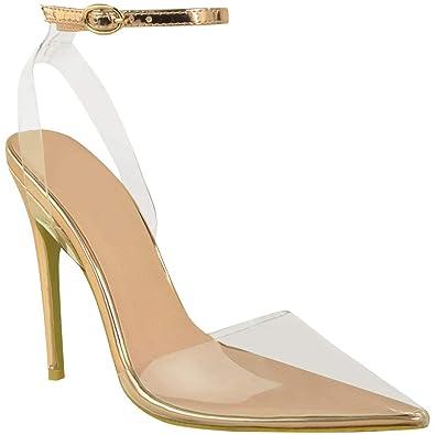 b56c1e7f1042ec Fashion Thirsty Damen High Heels mit Transparenten Details -  minimalistisches Design - Roségoldfarben Metallic - EUR