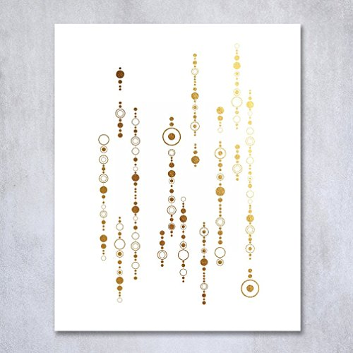 Strings of Circles Gold Foil Geometric Print Nursery Artwork Modern Dorm Decor Boho Chic Abstract Office Art Geometric Wall Poster 5 inches x 7 inches - Dorm Chic