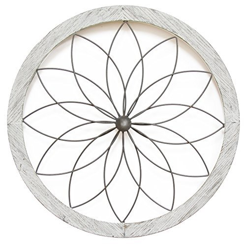 Stratton Home Decor Flower Metal and Wood Art Deco Wall Decor, White]()